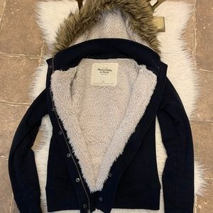 Abercrombie & Fitch Fur Lined Hoodie Zip up Jacket